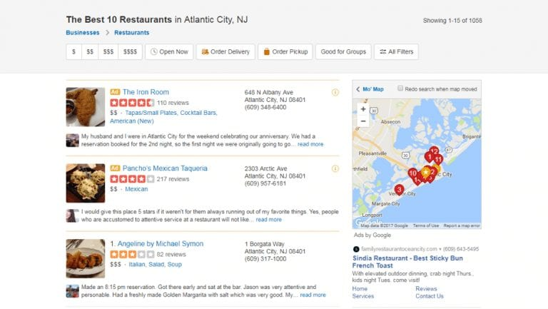 restaraunts map screenshot