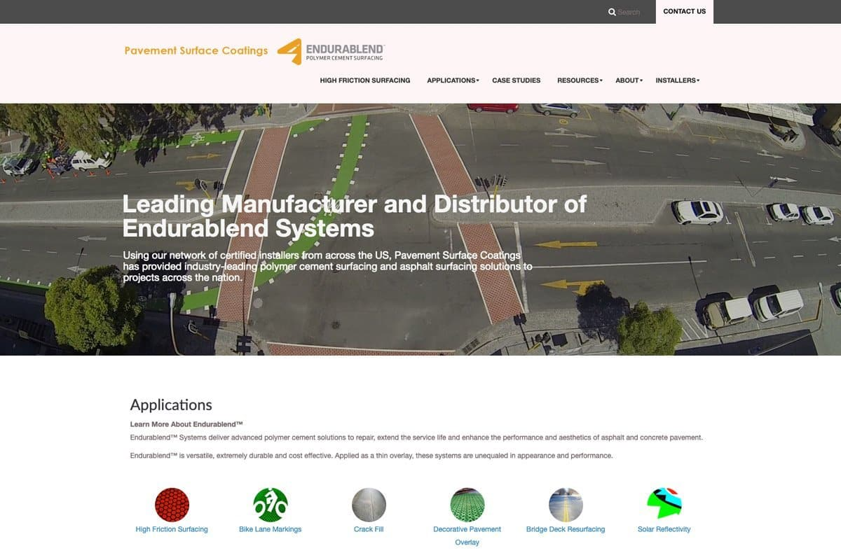 Pavement Surface Coatings Website Design