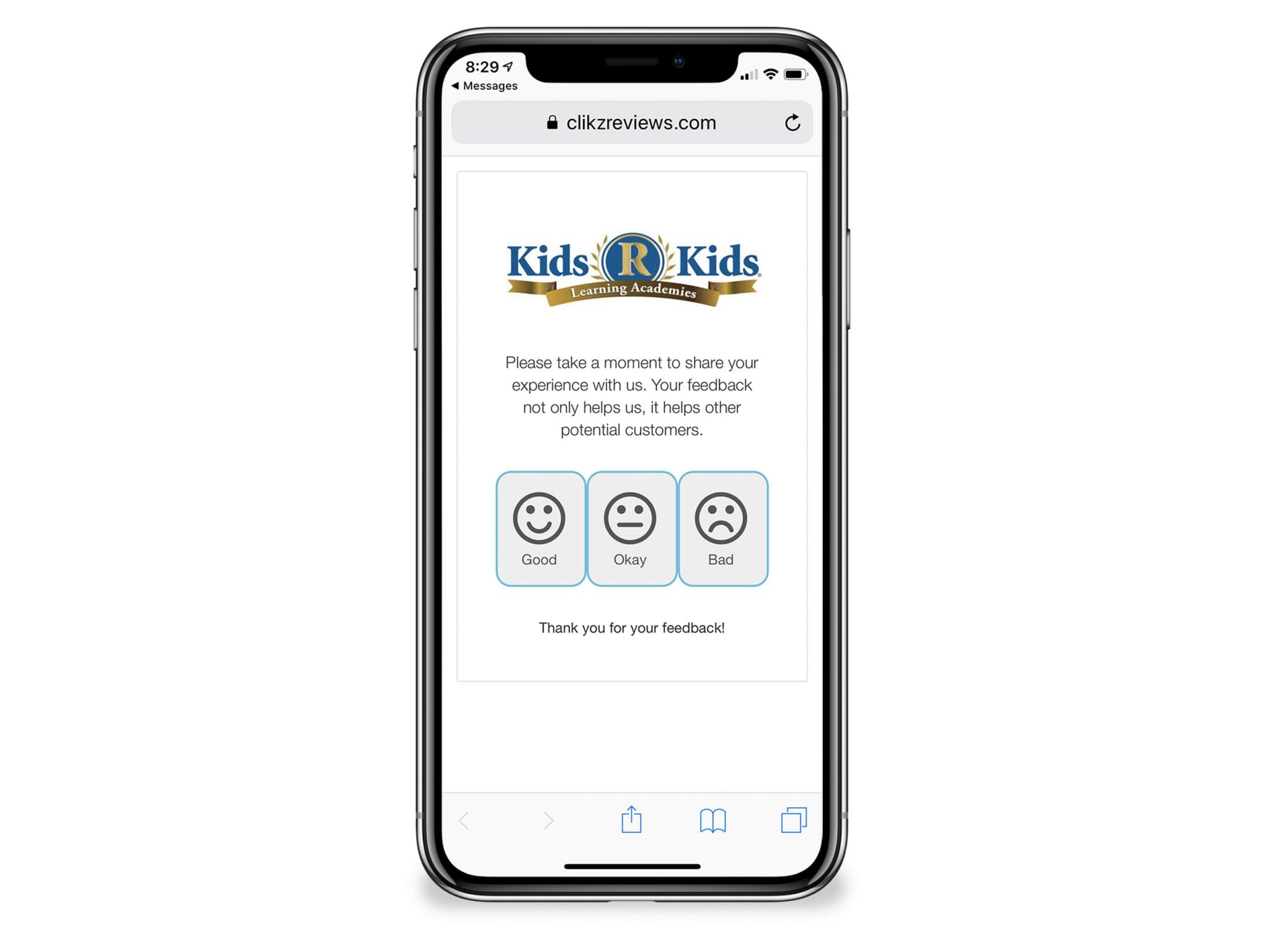 Kids R Kids iphone review page web