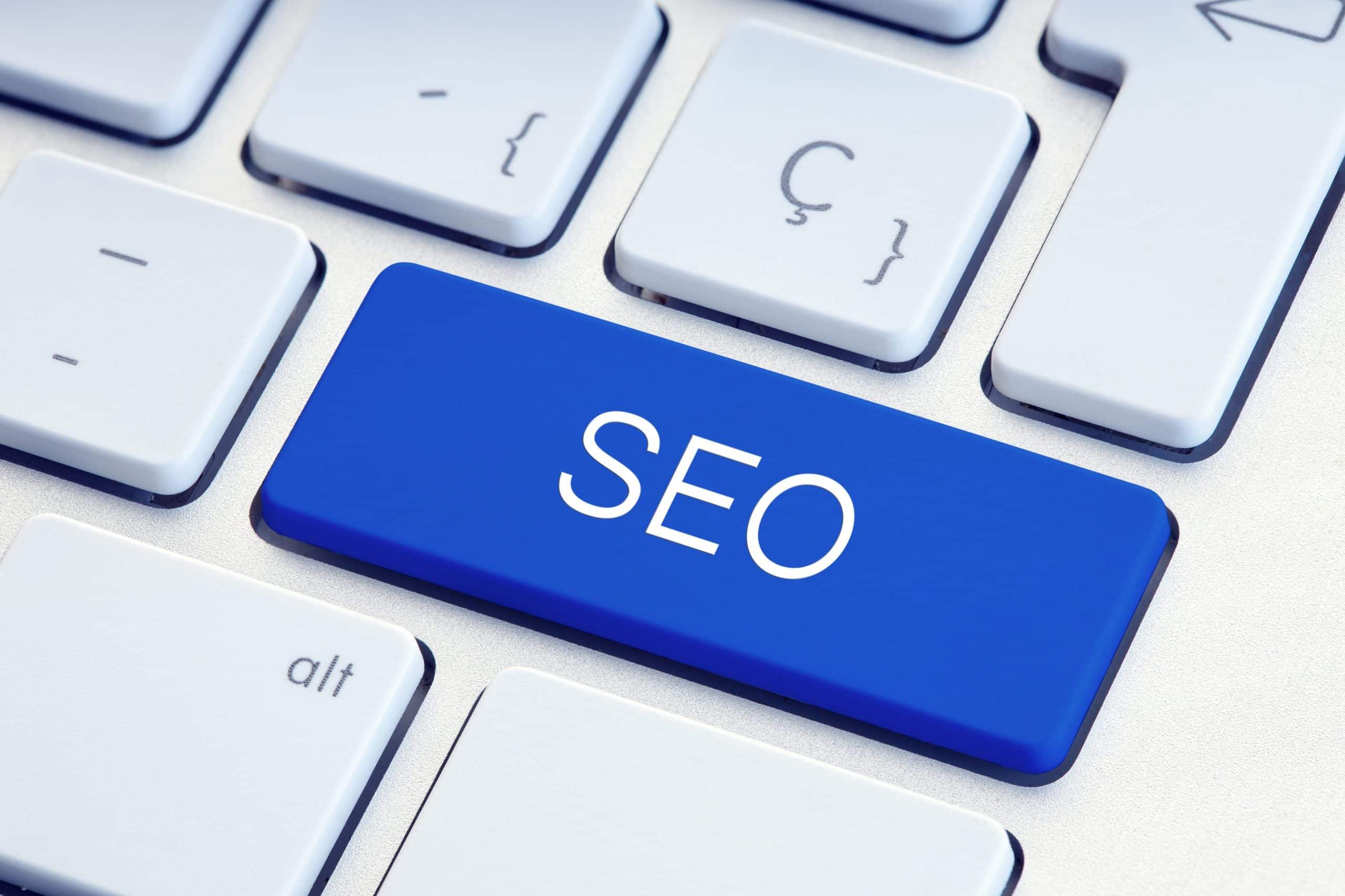 Search engine optimization or SEO Word on computer Keyboard Key